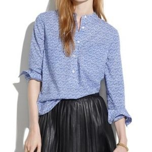 Madewell Market Popover Blue Floral partial button